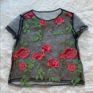 Tops - Mesh embroidered rose flower shirt